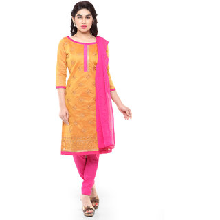 Aaina Mustard Chanderi Cotton Embroidered Unstiched Dress Material (SB-3257)