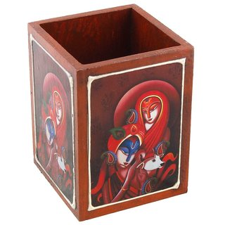 Gomati Ethnic Radha Krishna Painted Wooden Pen Stand Handicraft