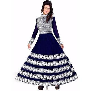 Aracruz Dark Blue  White Georgette Printed Anarkali Semi Stitched Suit