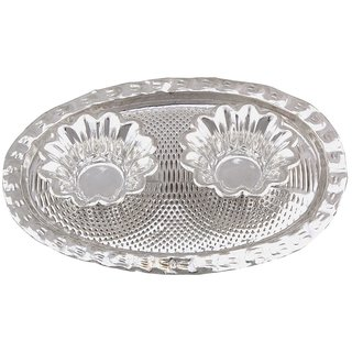 Gomati Ethnic Silver Polished Double Container Pair with Tray Handicraft
