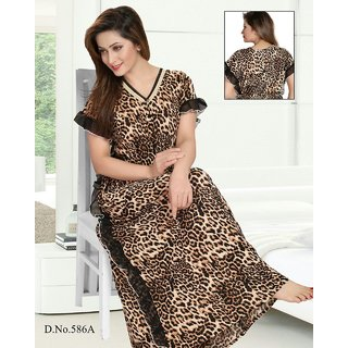 Buy Leapord Print Nighty 1pc Daily Lounge Wear Night Dress 1 Gown Printed  Maxi Nightie Bedroom Slip 586A Online   ₹1290 from ShopClues 8f1309641