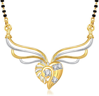 Vk Jewels Stone In Heart Gold Plated Mangalsutra Pendant -Mp1301G [Vkmp1301G]