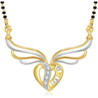 Vk Jewels Sparkling Heart Gold Plated Mangalsutra Pendant -Mp1302G [Vkmp1302G]