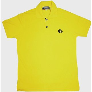 Solid yellow Polo T-shirt for men.