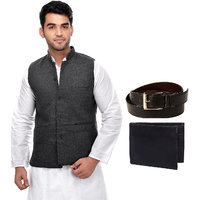 CALIBRO Men's Cotton Grey Nehru Jacket with Belt  Wallet