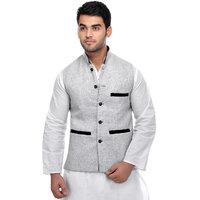 CALIBRO Men's Cotton Grey Nehru Jacket