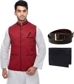 CALIBRO Men's Cotton Red Nehru Jacket with Belt  Wallet