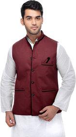 CALIBRO Men's Cotton Maroon Nehru Jacket