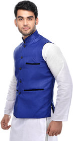 CALIBRO Men's Cotton Blue Nehru Jacket