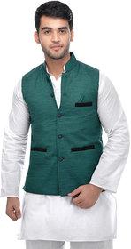 CALIBRO Men\'s Cotton Green Nehru Jacket