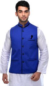 CALIBRO Men's Cotton Blue Nehru Jacket