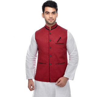 CALIBRO Men's Cotton Red Nehru Jacket