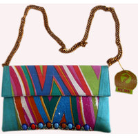 Multi Colour Tribal Zigzag Stripe Bag With Bold Sequin