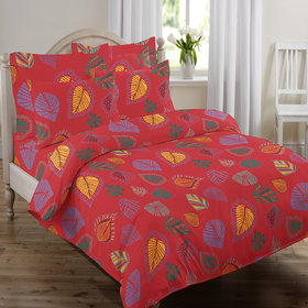 Swaas Leaves Red   King Bed Sheet Set With Two Pillow C