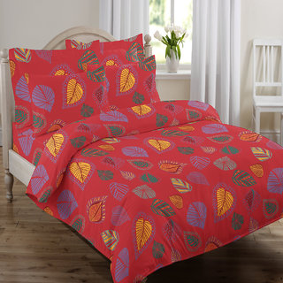 Swaas Leaves Red   King Bed Sheet Set With Two Pillow Covers ( 108 X 108  Inches )