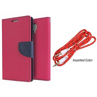 MERCURY Wallet Flip case Cover for  Micromax A106 Unite 2 (PINK) With Aux Cable