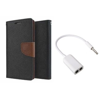 MERCURY Wallet Flip case Cover for  Sony Xperia Z5 (BROWN) With 3.5mm Jack Splitter