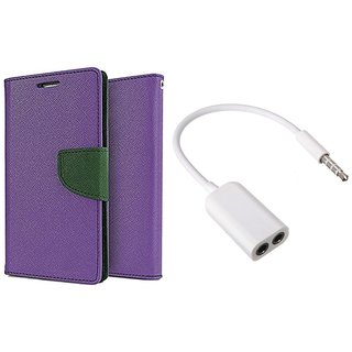 MERCURY Wallet Flip case Cover for Samsung Galaxy Mega 5.8 I9150 (PURPLE) With 3.5mm Jack Splitter