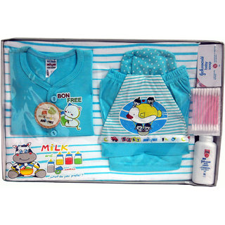 BelleGirl 100 Cotton New Born Gift Set of 8 Pcs Blue 0-3M