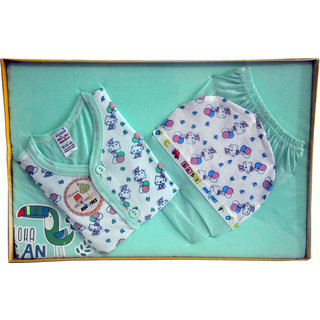 BelleGirl 100 Cotton New Born Gift Set of 4 Pcs Premium Green 0-3M