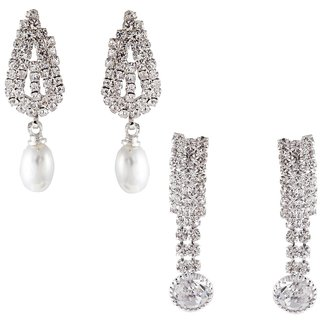 9blings Combo Party Wear Silver 2 Pair Earrings