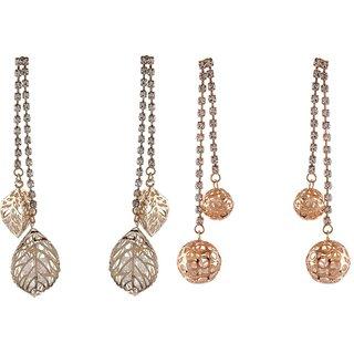 9blings Combo Gold Crystal 2 Pair Of Long Earrings