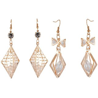 9blings Combo Gold Crystal 2 Pair Of Earrings