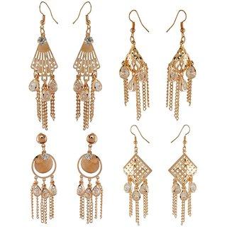 9blings Combo Gold Crystal 4 Pair Of Dangle Earrings