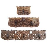Fancy Wooden Hand Carved Set Of 3 Multipurpose Wall Key Cloth Hanger Hold Panel