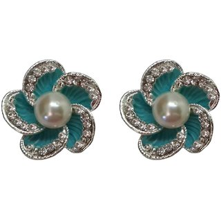 Trendy Green Colour Floral Design Faux Rhinestones and Pearl Stud Earrings - 860.2