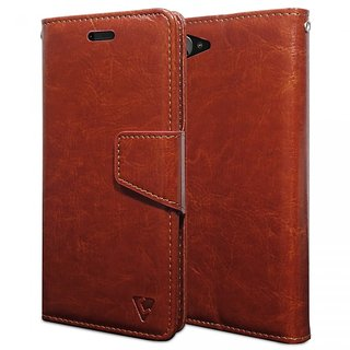 Ceego Luxuria Wallet Flip Cover for Lenovo Z2 Plus - Ultra Compact with Credit Card Slots  Wallet (Walnut Brown)
