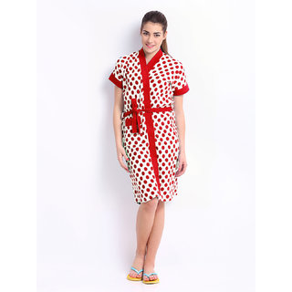 Be You Fashion Red Polka Dot Printed Cotton Bathrobe