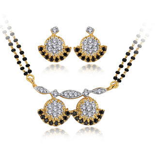 Spargz Traditional Gold Plated CZ Stones Wati Mangalsutra Set AIMS 103