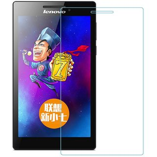 SNOOGG Lenovo tab 3 A710F Tablet(7 inch, 8GB,Wi-Fi Only), Ebony Black Tempered Glass Screen Guard / Screen Protector ExPLLosion Proof