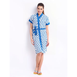 Be You Fashion Blue Polka Dot Printed Cotton Bathrobe