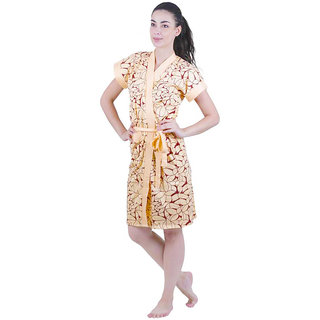 Be You Fashion Cotton Yellow Printed Bathrobe