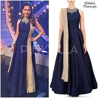 Regina New Gorgeous Blue Banglory Silk Designer Party Wear Bollywood Style Gown Dress