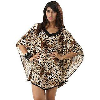 Women's Batwing Sleeve V-Neck Brownish Wild Leopard Print Kaftan Swimwear Cover Up Dress