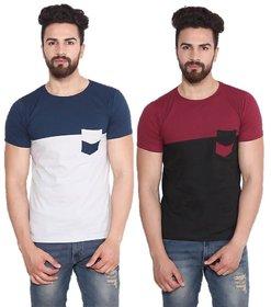 Stylogue BlueMaroon Mens Casual Tshirt (Pack of 2)