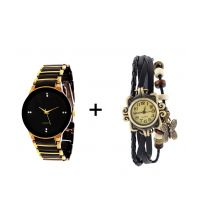 Gtc Combo Of Black  Golden Quartz Analog Watch For Man With Black Designer Leather Analog Watch For Woman