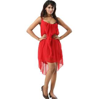 One Piece Dress Spaghetti Strap Back Metal Cross Cutout Sleeveless Blood Red Color