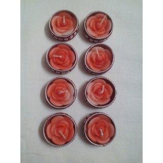 Red Designer Floral Shape Wax Filled Candle Diyas - Set of 8