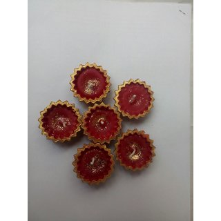 Beautiful Red Floral Shape Wax Filled Candle Diyas - Set of 6