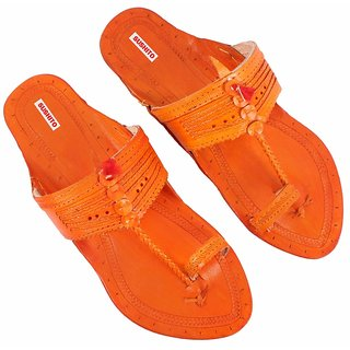 Sushito Men's Orange Kolhapuri