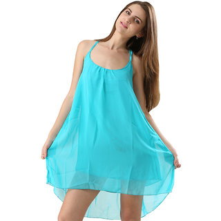 One Piece Dress Spaghetti Strap Back Metal Cross Cutout Sleeveless Cyan Color