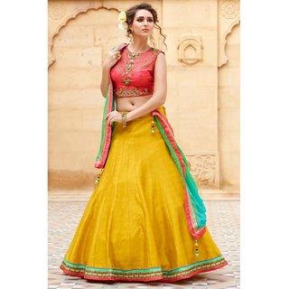 Khantil New Fancy Banglori Silk Peach And Yellow Embroidered Lehegha Choli