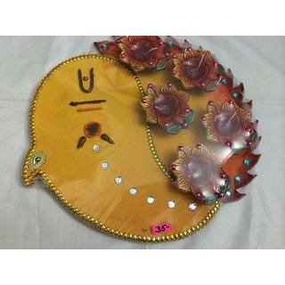 Handmade Decorative Thali with Diya