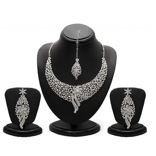 Sukkhi Sleek Rhodium plated AD Stone Necklace Set