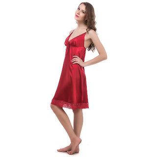 Fasense Women Nightwear Stylish Crimson Korean Satin Sleepwear Short Nighty (RR023 A)