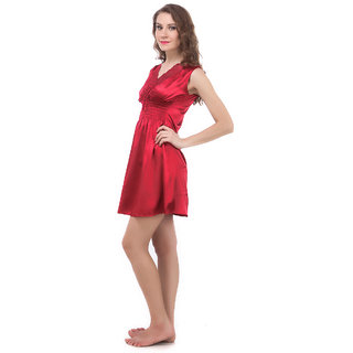 Fasense Exclsuive Women Nightwear Stylish Crimson Korean Satin Sleepwear Short Slip Nighty  (RR024 A)